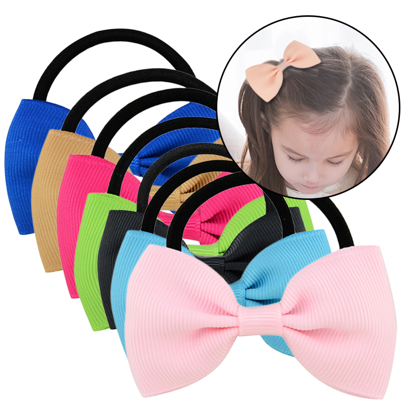 1pcs Solid Colorful Elastic Hair Bands Girls Ribbon Bows Girls Hair Circle Tie Rope Hair Accessories   Headwear   Best Holiday Gifts