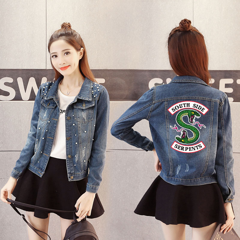 Women Denim Jacket Riverdale southside serpents Jeans bomber jacket Coat Casual female Outwear Solid Plus Size big size 4XL 5XL