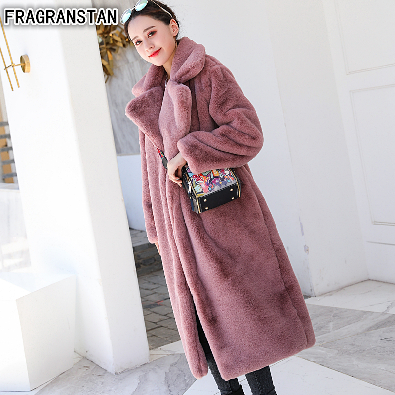 Winter Women High Quality Faux Rabbit Fur Coat Luxury Long Fur Coat Loose Lapel OverCoat Thick