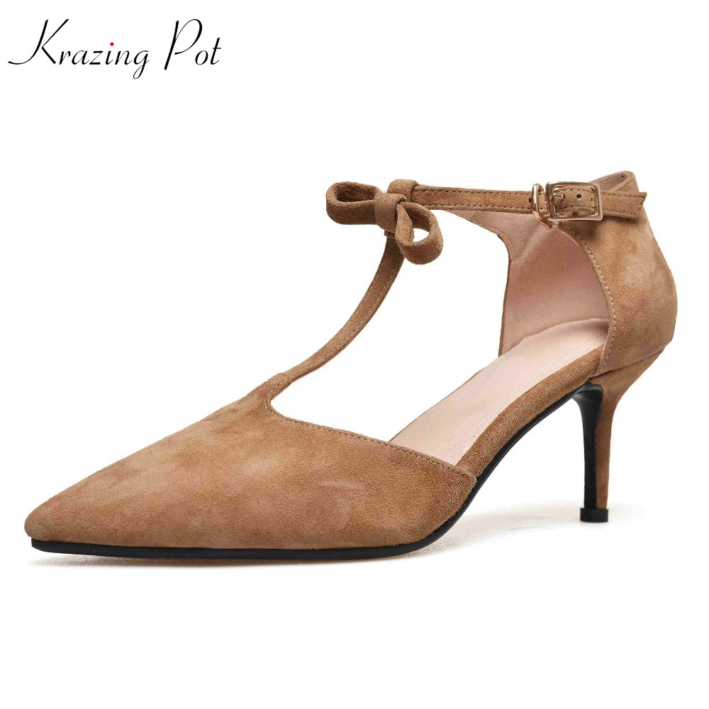 Krazing Pot sheep suede shoes women pointed toe women pumps superstar shallow solid beauty summer dinner party dance shoes L5f3 цена