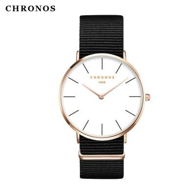 2017 New famous brand CHRONOS Watches Men Women Casual Business Quartz-Watch PU Leather Watch 40mm Clock Relogio feminino Gift