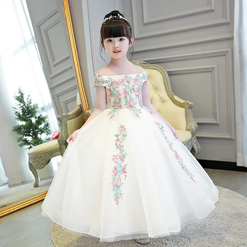 2017 New Children Girls Luxury Beautiful Embroidery Flowers Princess Long  Dress Birthday Wedding Party Dress For a6f7b238b1e8