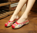 New National Linen Floral Embroidery Slippers Fashion Women Sandals Chinese Old peking Casual Slippers 35-40 Sandals flat Shoes