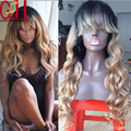 130Density Brazilian Virgin Hair Two Tone#1b/27Ombre Full lace Human Hair Wigs Blonde Glueless Lace Front Wigs With Bangs/Fringe