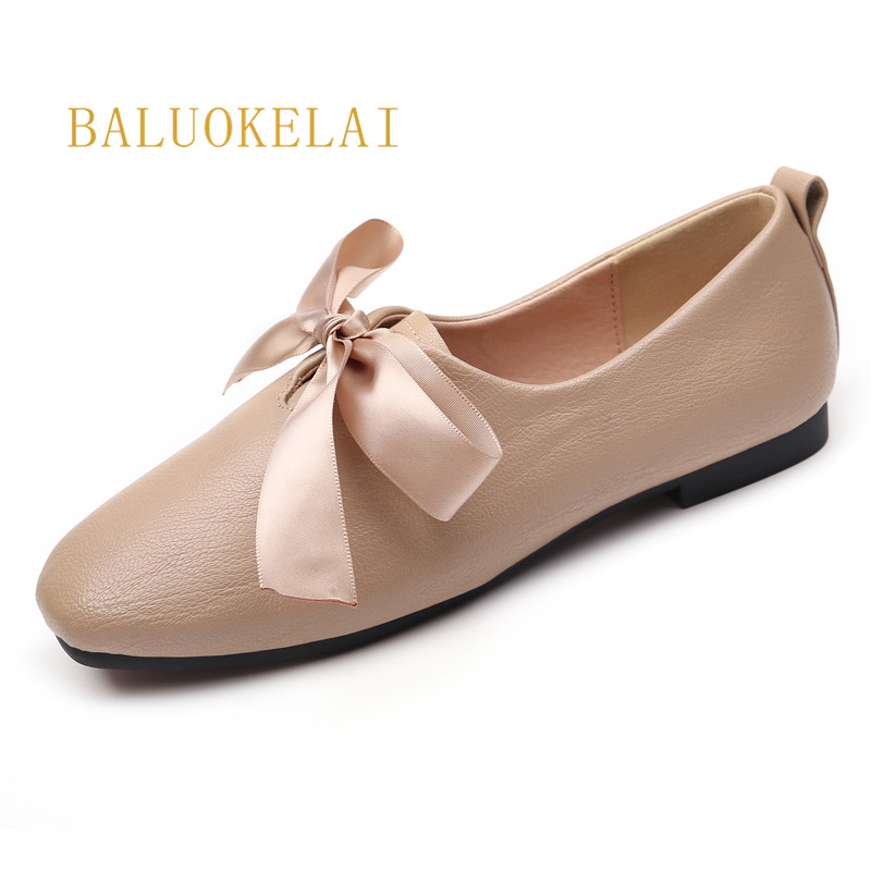 Genuine Leather Shoes Women Butterfly-knot Ballet Flats Women Flats Autumn Winter Dress Flat Shoes Woman Size 38 39 40,K-116 все цены