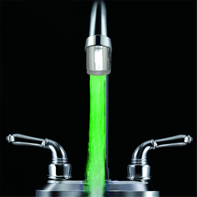 Wholesale 100pcs Single Green color illuminated faucet light with free shipping and drop shipping