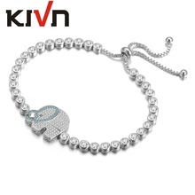 KIVN Fashion Jewelry Adjustable Bolo Elephant Pave CZ Cubic Zirconia Wedding Bridal Bracelets for Womens Girls Birthday Gifts