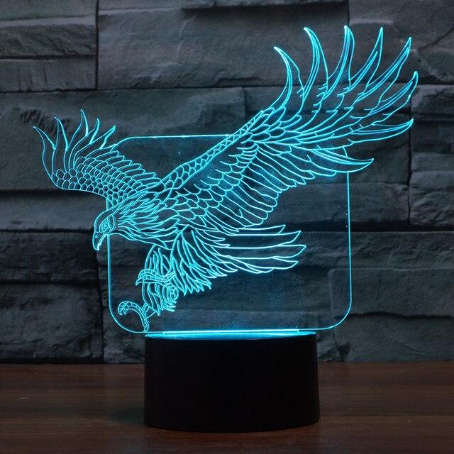 3D ILLusion Bulding Night Light Ton LED Lamp Colors Change Art Sculpture Table Light Produces Unique Dog Ostrich Dragonfly Eagle