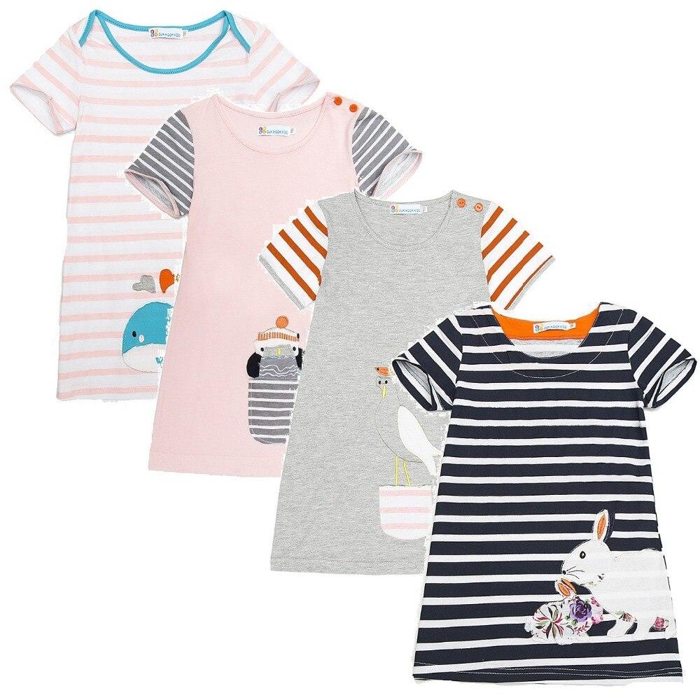 Giraffe Baby Girl Dress Soft Cotton Girl Blouses Short Sleeved Kids Tops Jumpers Children Clothes Stripe Infant Dress Vestidos
