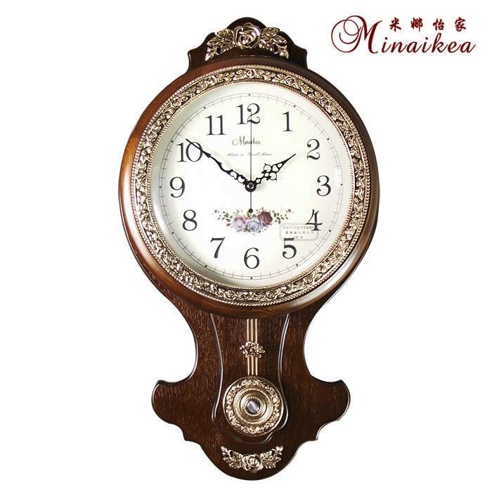 Fashion antique wood wall clock Large mute quartz clock and watch fashion brief rustic clock pendulum clock