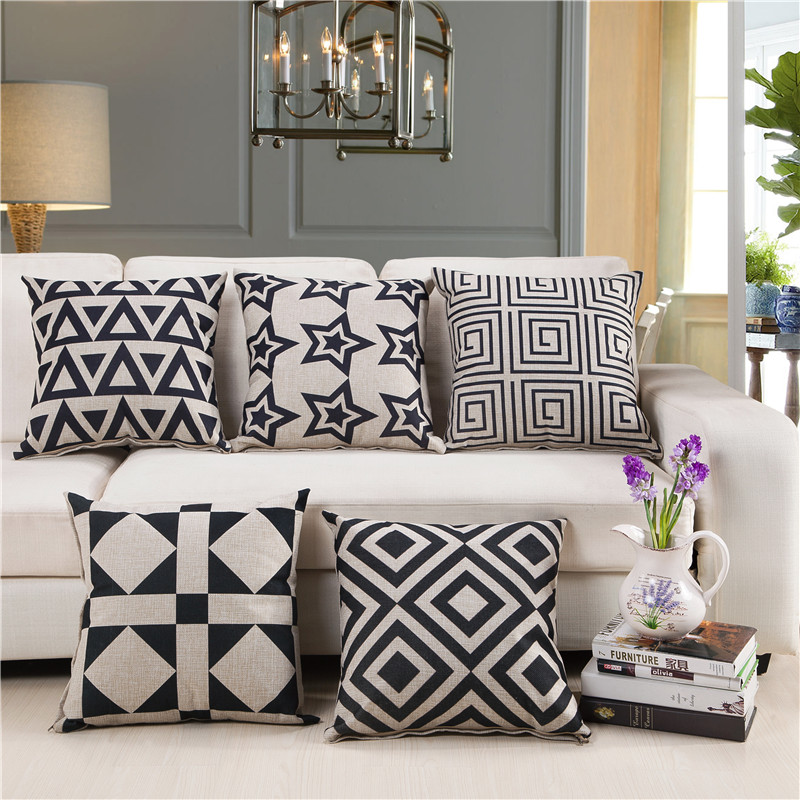 Cozzy Modern Black & White Geometric Pattern Cotton Linen Square Decor Pillow Case Cushion Cover for Sofa Couch Stars 45x45cm