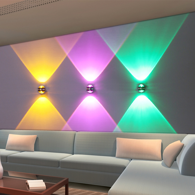Colorful led Light spotlights downlights Wall Sconce mirror light Aluminum for bedroom exhibition stair Entrance indoor lighting christmas bell colorful light pattern stair stickers