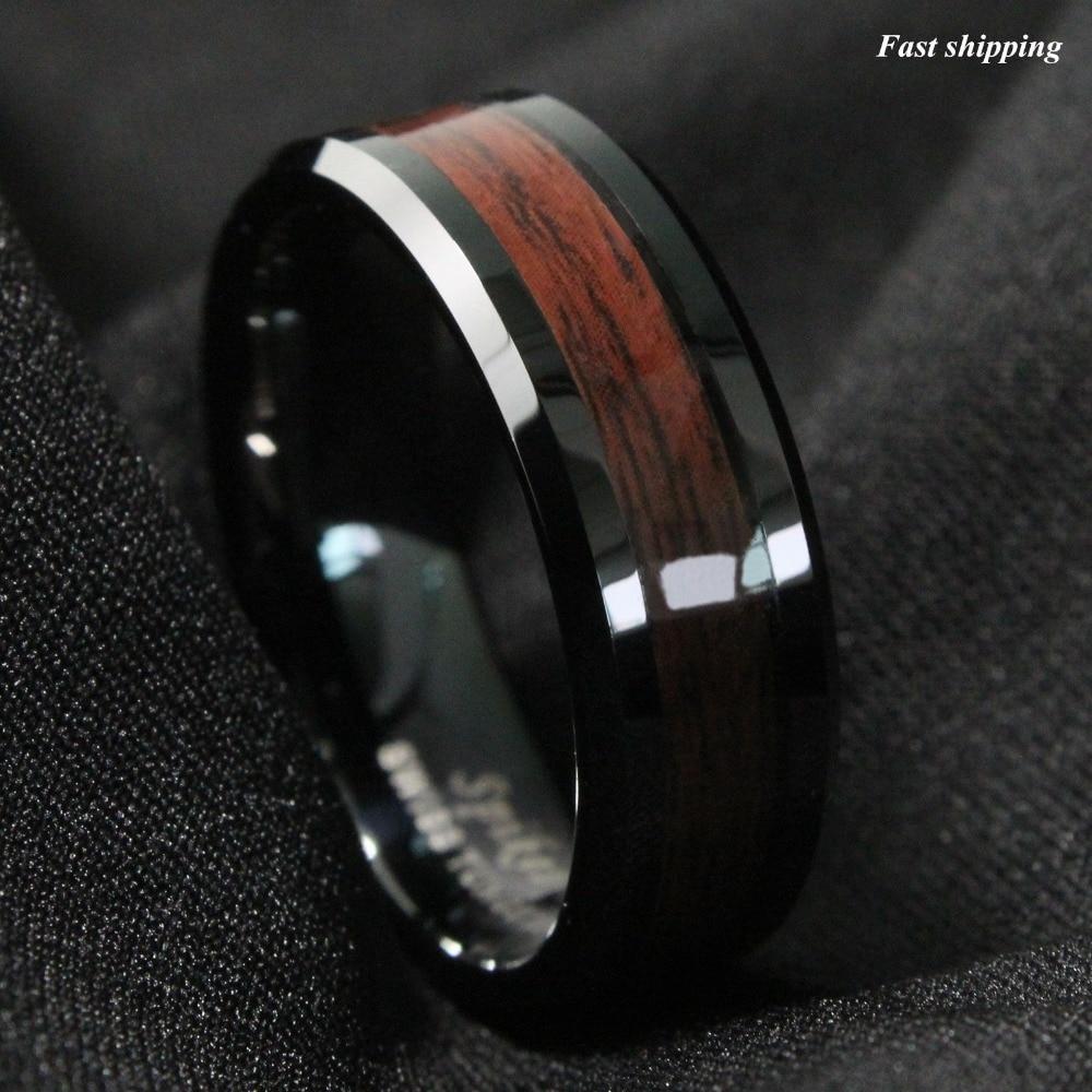 barrel ceramic koa wood ring wood mens wedding bands The Barrel Ceramic Koa Wood Wedding Ring