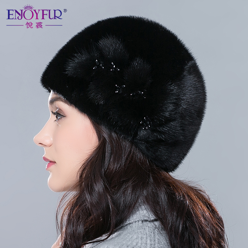 Genuine Mink Fur Hat For Women Winter Imported Whole Mink Fur Cap Floral Pattern Russian High-end Luxury Female Hats