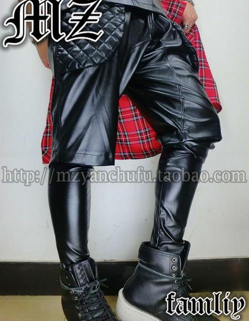 S-3XL ! 2019 DJ men's brand fashion stage singer Fake two pants costume trouseres clothing leather pants