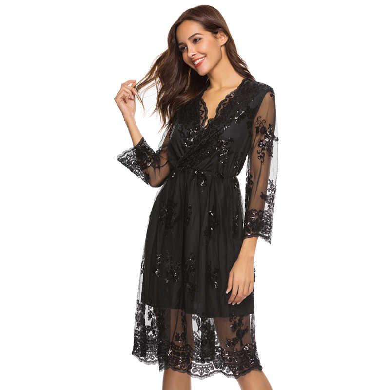 Осенне-зимнее платье женское 2019 сексуальное Сетчатое винтажное платье с v-образным вырезом и блестками женское элегантное уличная рождественское вечернее платье Vestidos