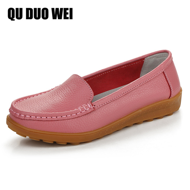 2018 New Genuine Leather Women's Flat Shoes Slip On Loafers Ladies Casual Breathable Mother Shoes Candy Color Pregnant Shoes 2018 brand new spring men slip on shoes breathable shoes british style shoes loafers genuine leather flat shoes wa 03