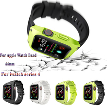 Silicone anti-fall Watch Case+Sport Waterproof Breathable Band Suit For apple watch band 44mm Bracelet Strap iwatch series 4