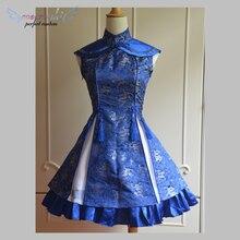Классическое голубое Qi платье без рукавов на шнуровке с принтом/Красное Атласное Qi платье без рукавов с цветком сливы платье лолиты
