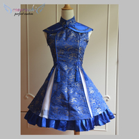 Classic Blue Qi Dress Sleeveless Lace Up Printed / Red Satin Qi Dress Sleeveless Plum Blossom Printed Lolita Dress !