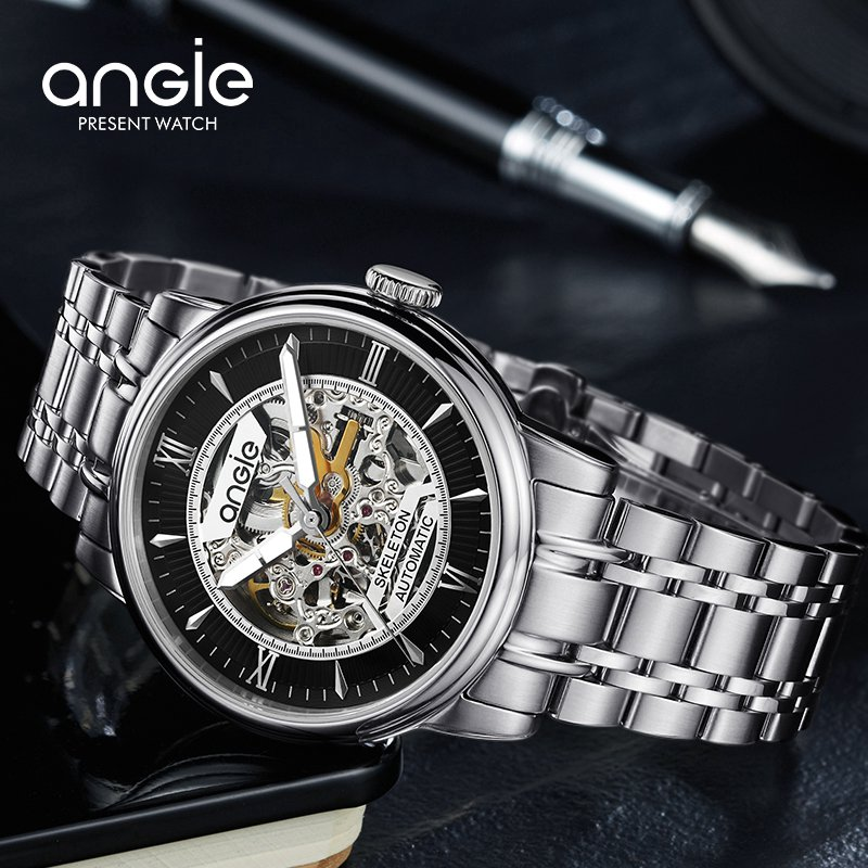 Automatic Male Skeleton Mechanical Wristwatches Men Fashion Luminous Watch Accurate Male Business Waterproof Watches fashion men mechanical hand wind watches men skeleton stainless steel wristwatches for male luxury golden watch men