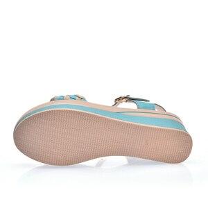 Image 5 - O16U Female Sandals Shoes Wedge Platform Leather Ladies Buckle Sandals High Heels Weave Strap Sandals For Women Summer 2017