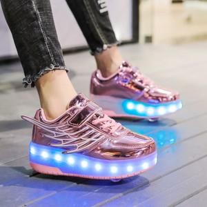Image 5 - Детские кроссовки с колесиками, модная обувь для роликовых коньков, со светодиодной подсветкой, зарядка через USB, розовые, золотые