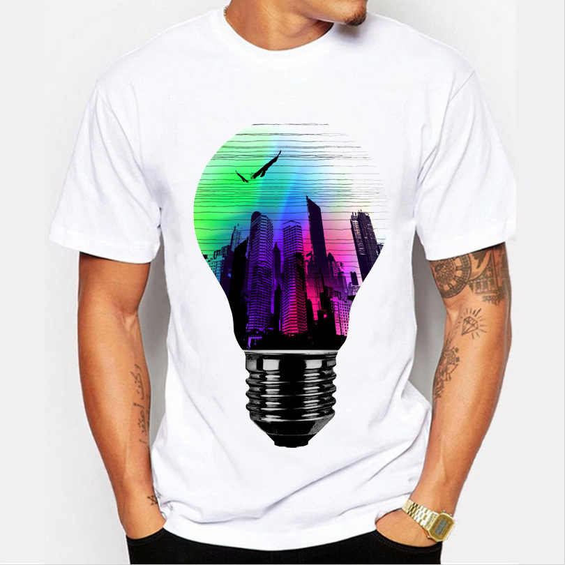Men clothing Tops fashion summer short t shirt men brand clothing cotton comfortable male t-shirt 3D light bulb print tshirt men