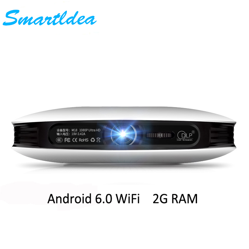 Smartldea M18 Mini Smart Real 3D Projector 12000mAh Battery Android6 0 DLP HD 1080P Home Proyector