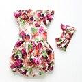 Con volantes de Flores Mamelucos Del Bebé ropa de Bebé Niña Conjunto mamelucos sin mangas infantil del Mameluco de la muchacha ropa de las muchachas del bebé JumpSuit jumper