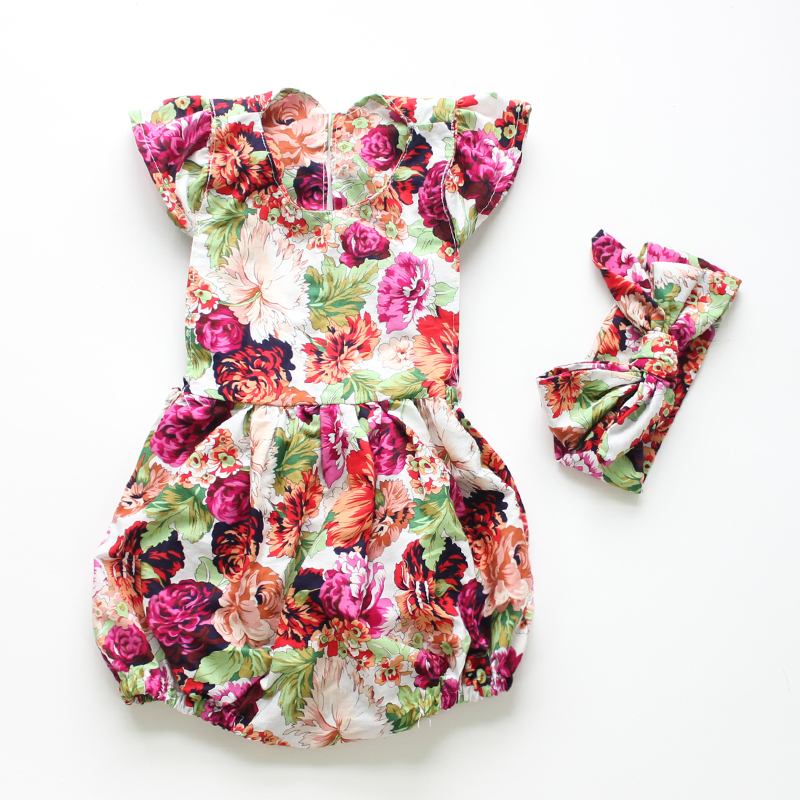 Ruffled Flower Baby Rompers Girl Baby clothes Set Romper girl rompers infant sleeveless girls clothes baby JumpSuit jumper