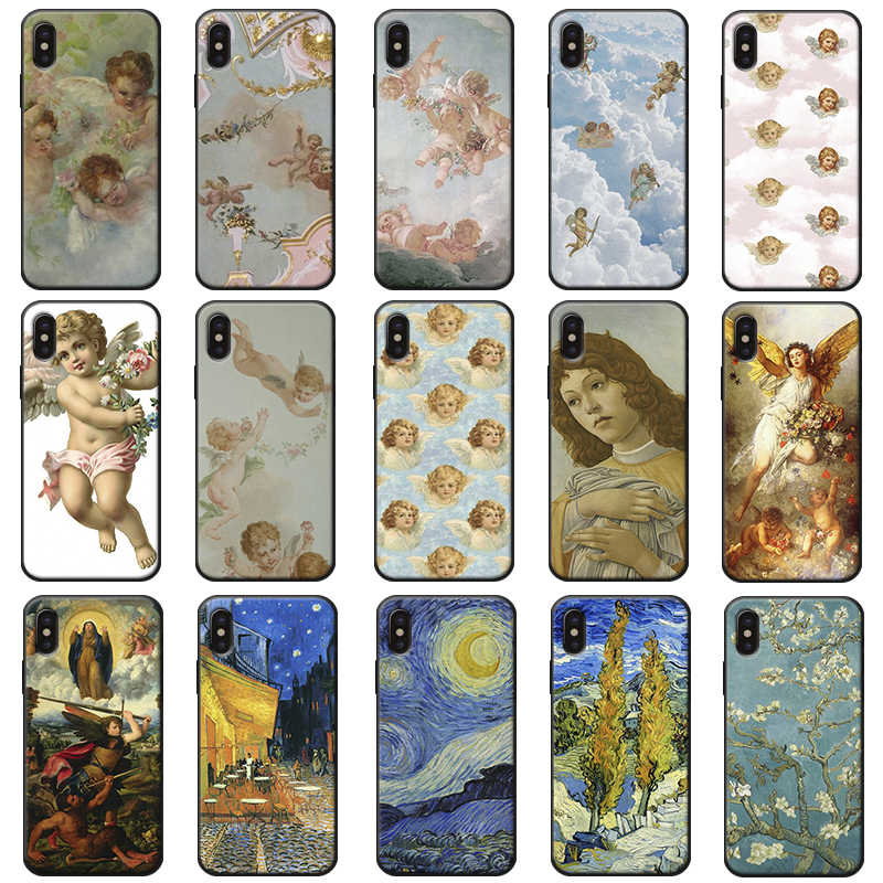 renaissance art Painting angels Vintage Soft silicone Phone Case For iPhone 11 11 Pro 11 Pro Max