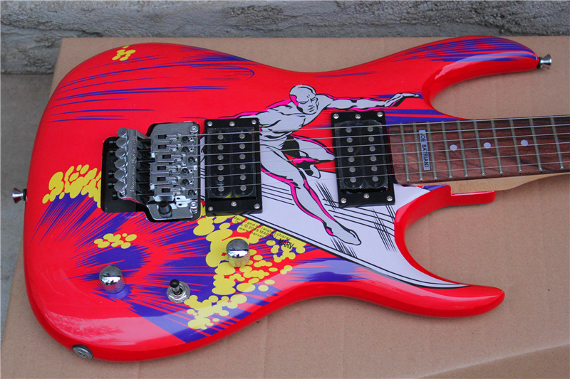 factory custom red body floyd rose electric guitar with beautiful pattern body chrome hardware. Black Bedroom Furniture Sets. Home Design Ideas