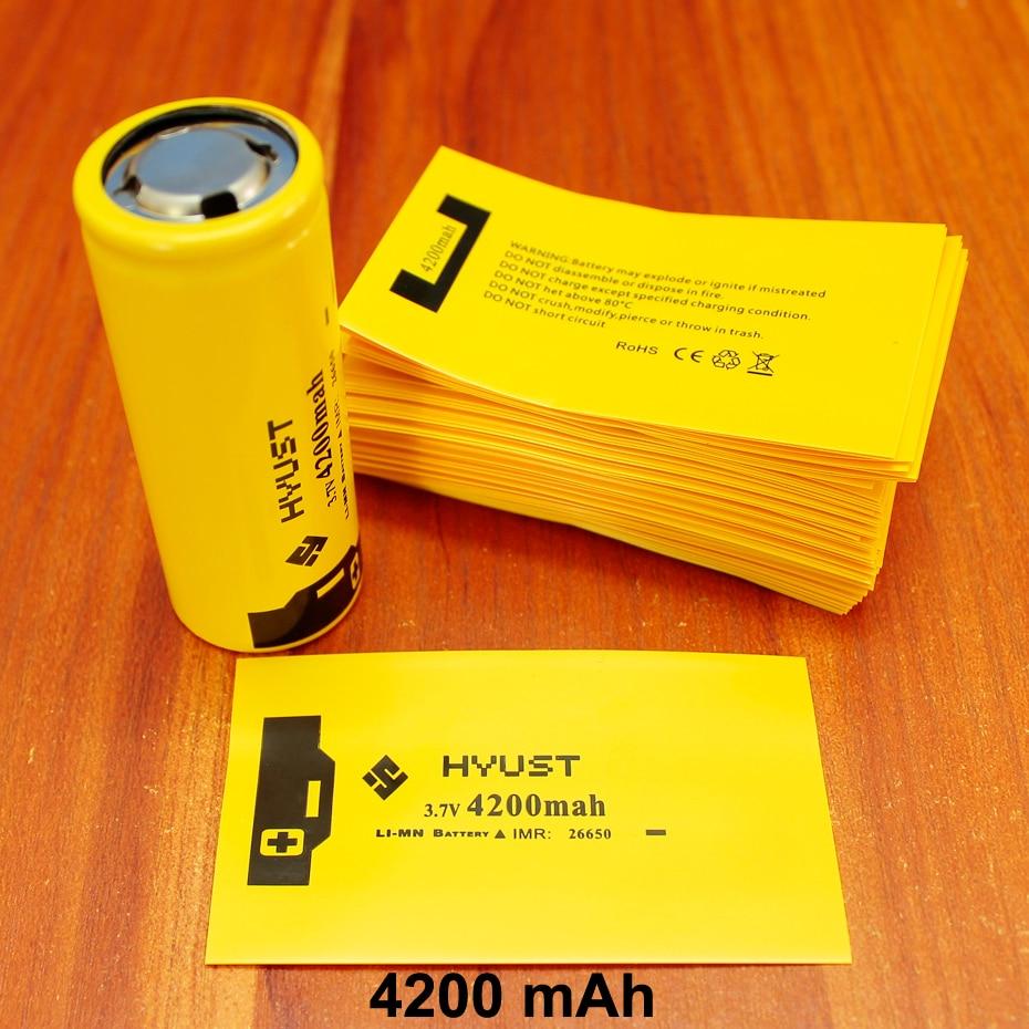 100pcs lot Lithium Battery Casing Sleeve Pvc Plastic Capacity Label Shrink Film 26650 Special Insulation 4200mah