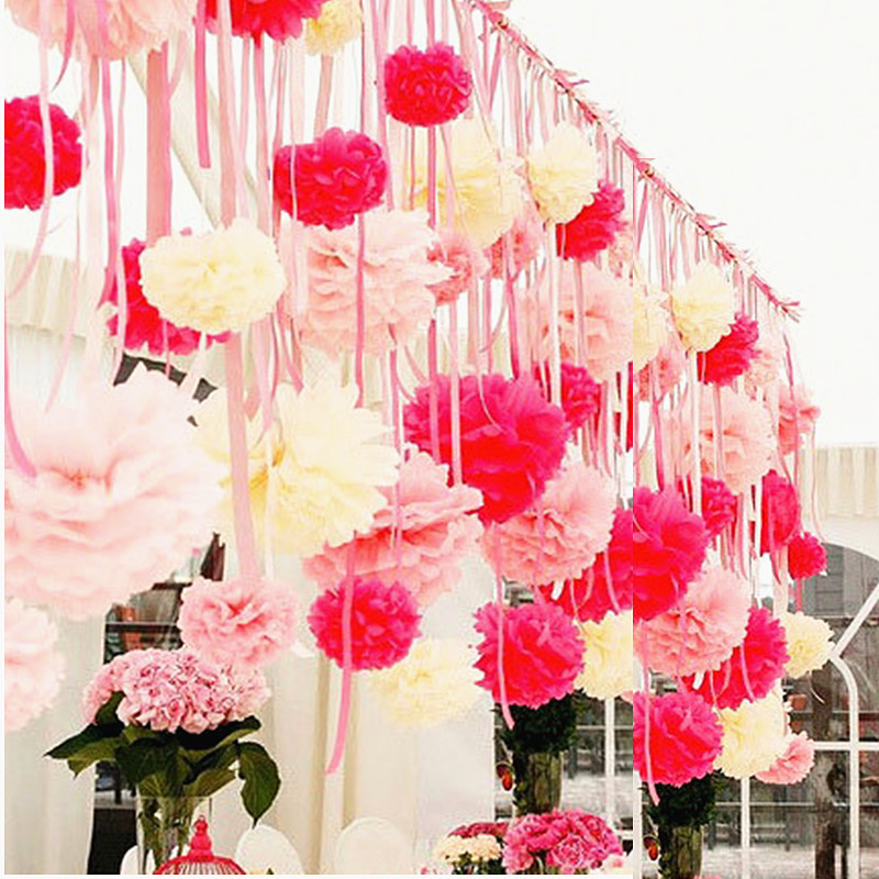 Us 0 79 5pcs 10 15 20 25 30 35cm Flower Pompom Tissue Paper Pom Poms Diy Artificial Flowers Christmas Halloween Wedding Party Decoration In Party
