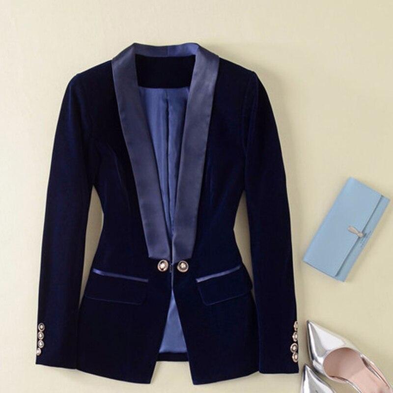 Высокое качество Новые взлетно-посадочной полосы 2018 Дизайнер Блейзер Для женщин с длинным рукавом бархатный Блейзер Куртка Верхняя одежда
