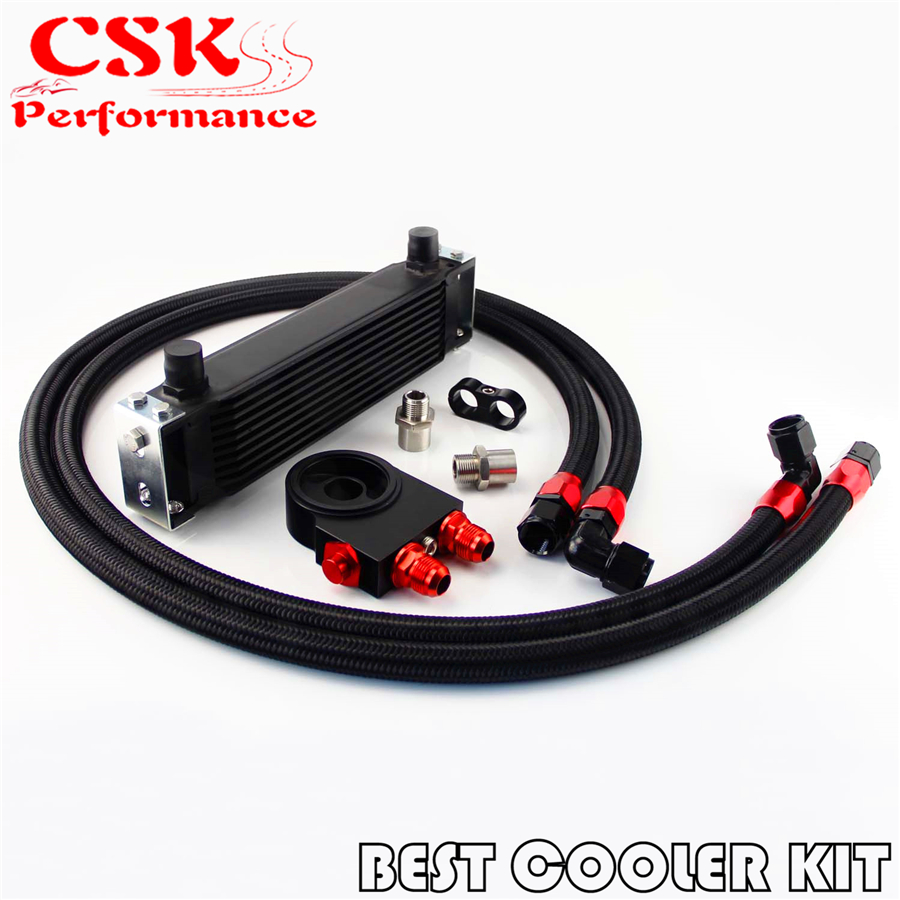 Kit de refroidisseur d'huile thermostatique universel haute performance à 10 rangées pour voiture japon noir/argent
