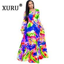 цены на XURU summer new women's digital print dress fashion style big chiffon long dress bohemian beach dress lined S-3XL-5XL в интернет-магазинах