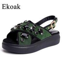 Ekoak New 2018 Genuine Leather Women Sandals Sexy Crystal Gladiator Sandals Fashion Wedges Platform Summer Shoes