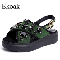 Ekoak New 2018 Genuine Leather Women Sandals Sexy Crystal Gladiator Sandals Fashion Wedges Platform Summer Shoes