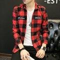 Новый 2016 Мода Марка Красный Плед Мужчины Рубашки С Длинным Рукавом Осень зимний Стиль Повседневная мужская Рубашка Корейский Тенденция Мальчиков Рубашки Пальто 5xl