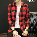 New 2016 Fashion Brand Red Plaid Men Shirts Long Sleeve Autumn Winter Style Casual Men's Shirt Korean Trend Boys Shirt Coat 5xl