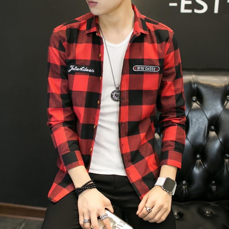 New 2019 Fashion Brand Red Plaid Men Shirts Long Sleeve Autumn Winter Style Casual Men's Shirt Korean Trend Boys Shirt Coat 5xl