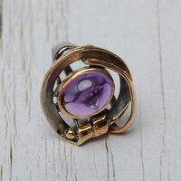 Винтаж 925 посеребренный 22 к Золото преувеличены узел Асимметрия Дизайн инкрустированные полудрагоценный камень кольцо с аметистом