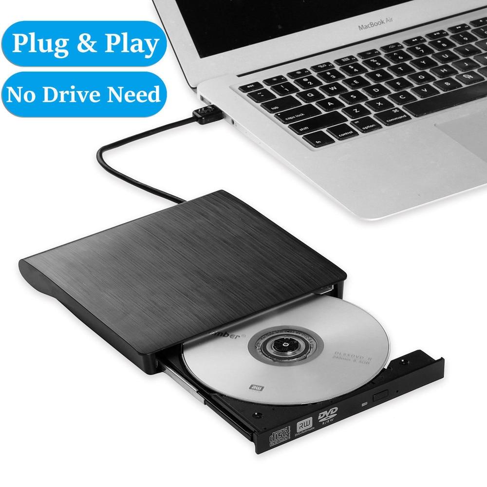 Slim Portable External USB 3.0 CD/DVD +/-RW Drive DVD/CD ROM Rewriter Burner High Speed Data Transfer For Laptop Desktop PC
