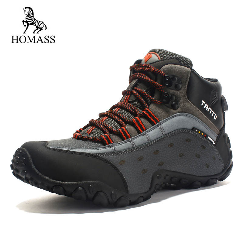 HOMASS New Safety Shoes Men Ankle No Steel Toe Work Boots Fashion Cow Genuine combat boots zapatos botas hombre Outdoor