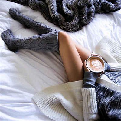 2018 ใหม่ฤดูหนาวกว่าเข่าอุ่นถุงน่องผู้หญิงถุงน่องฤดูหนาวถักมากกว่าเข่า Boot ยาวต้นขาสูง