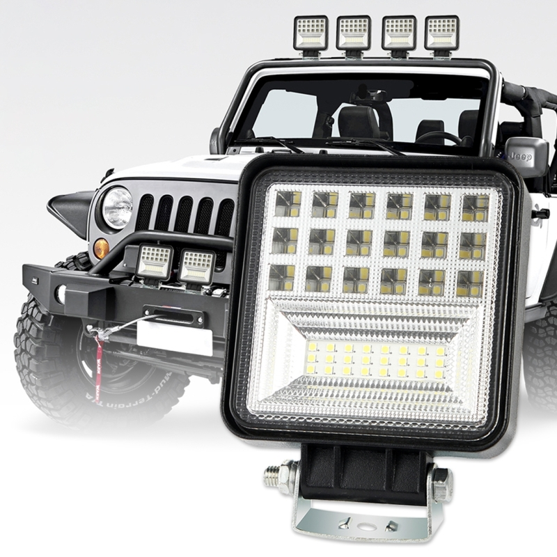 Car SUV Work Lights 2 PCS 4 inch 20W Spot / Flood White Light Square Shaped Waterproof LED Bulbs Off road vehicles Headlights