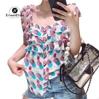 Модные женские туфли рубашка с принтом без рукавов топы корректирующие повседневное укороченные топы с оборками летняя