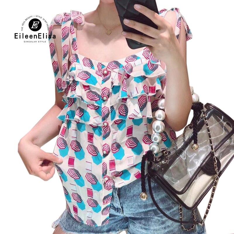Mode femmes chemise imprimer hauts sans manche décontracté volants réservoir hauts été